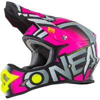 ONEAL 2017 3 SERIES RADIUM HELMET GREY/PINK/HI-VIZ ADULT