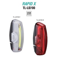 Cateye Tl-Ld700 Front & Rear Combo Rapid X Bike Bicycle Safety Light