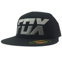Fox Racing Mens Stack 210 Flat Bill Hat Fitted Cap Black