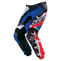 Oneal Mx 2017 Element Shocker Pant Black/Blue/Red Adult Motocross Dirt Bike