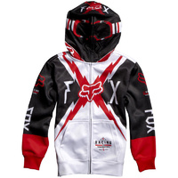 Fox Bolted Full Zip Front Boys Hoodie White