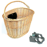 Bicycle Front Wicker Pannier Basket With Quick Release