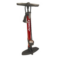 TIOGA  ALLOY CLEVER VALVE BIKE FLOOR PUMP RED