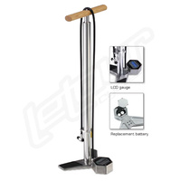 Cnc Aluminium High Pressure Digital Floor Pump Bike Bicycle Dual Head