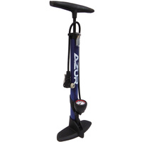 Azur Alloy Clever Valve Bike Bicycle Floor Pump 160psi Blue