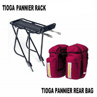 Tioga (Azur) Pannier Rear Rack  & Panniers Bike/Bicycle Bags Set Combo - Red