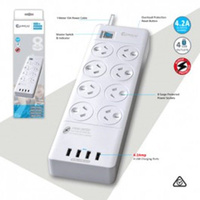8 Way Power Board Outlets Socket 4 Usb Charging Charger Ports W/Surge Protector