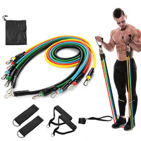 11 Piece  5 Levels latex Resistance Exercise Bands Set from AU
